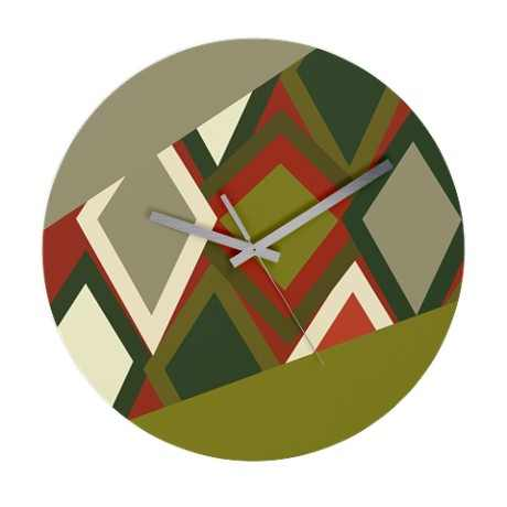 Uzbeck Olive and Tomato Abstract Wall Clock