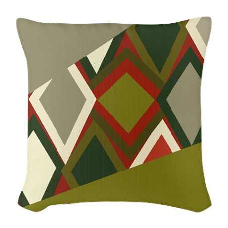 Uzbeck Olive and Tomato Abstract Burlap Throw Pillow