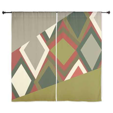 Uzbeck Olive and Tomato Abstract Curtains